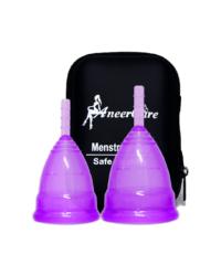 Набор фиолетовых менструальных чаш AneerCare в кейсе на молнии