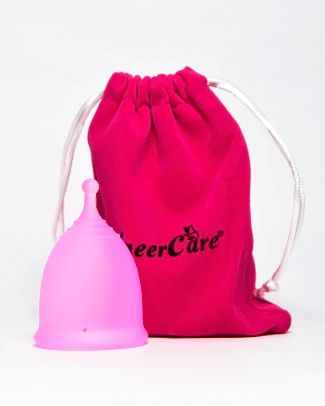 Розовая менструальная чаша AneerCare с хвостиком «шар» (комплектация)
