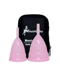 Набор розовых менструальных чаш AneerCare в кейсе на молнии