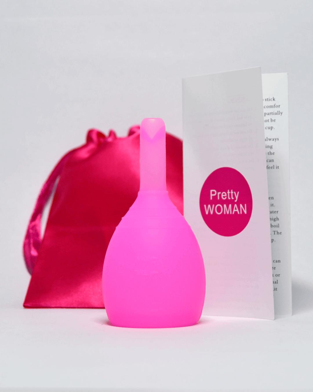 Розовая менструальная чаша PrettyWoman с клапаном (комплектация)